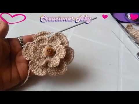 Flor de 6 Petalos a Crochet para la Vincha - YouTube