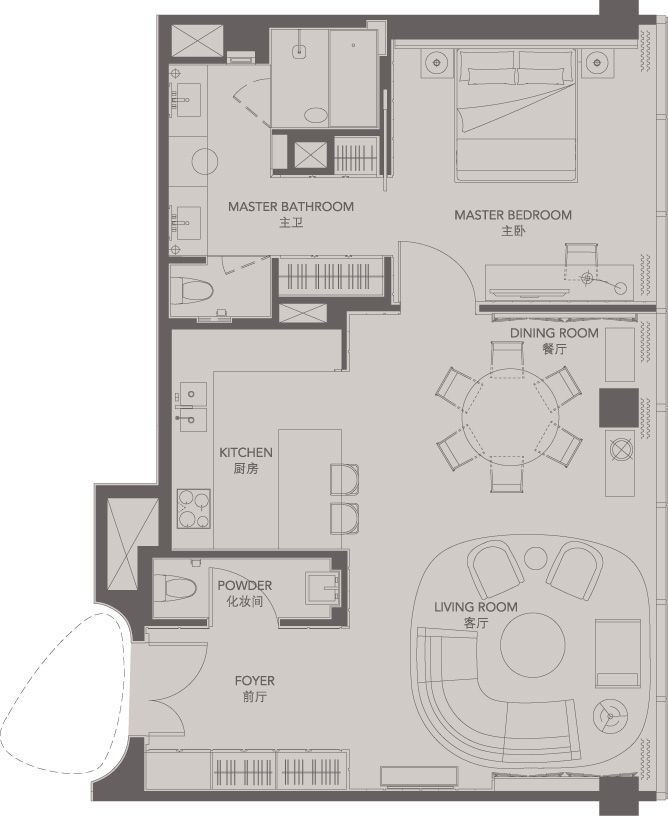 Standard suites unit g four seasons place pudong house for Small apartment layout plans