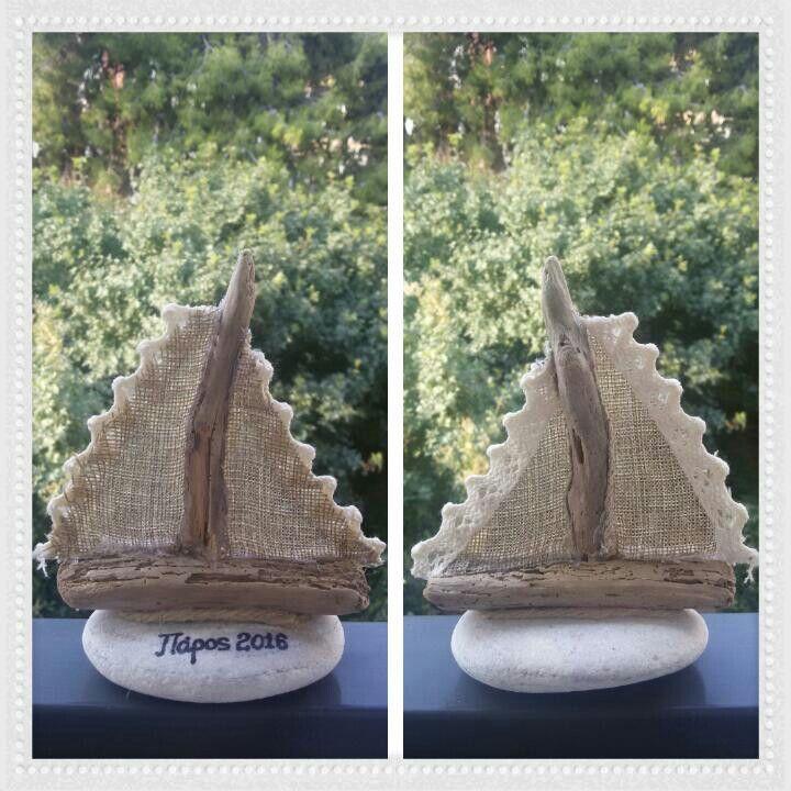 Καραβάκι από θαλασσόξυλα και βότσαλο. Driftwood art.