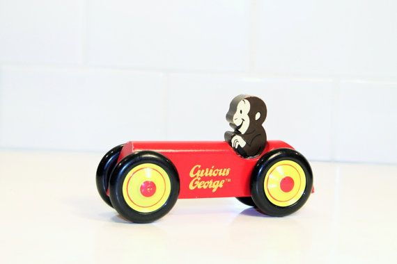 Curious George Wooden Curious George in Car by ClockworkRummage