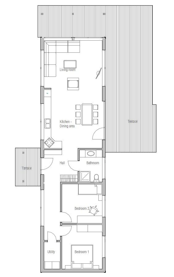 Small house plan, two bedrooms, suitable to narrow lot, affordable building budget, good vacation house.