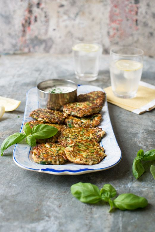 Courgette Haloumi Basil Fritters by Nadia Lim