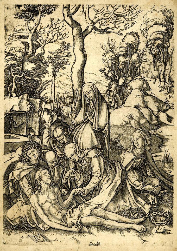 Albrecht Dürer. Апокалипсис и религиозные сюжеты: uchitelj. 1500-1515 Мертвый Христос лежит на земле, поддержанный Св. Иоанном и  группой женщин; Терновый венец у его ног