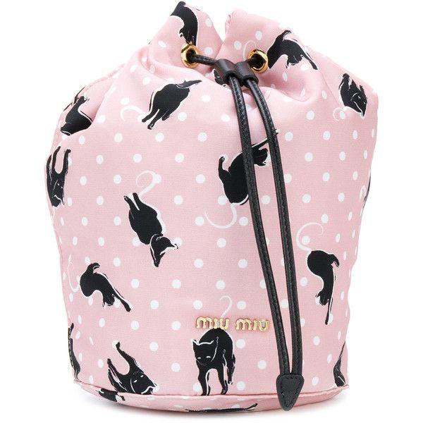 Miu Miu cat print bucket bag ($290) ❤ liked on Polyvore featuring bags, handbags, shoulder bags, cat handbag, pink polka dot purse, cat purse, miu miu purse and miu miu shoulder bag