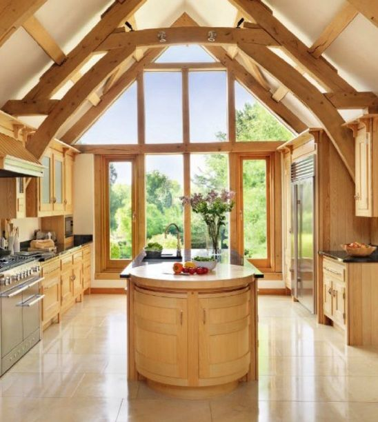 Kitchen windows in barn conversion. Credit: Mark Wilkinson. Light... (From The English Home 2012-07)