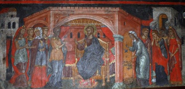 Byzantine fresco; shows the wise virgins on Christ's right hand, and the foolish on his left side (Matt 25:31-46)