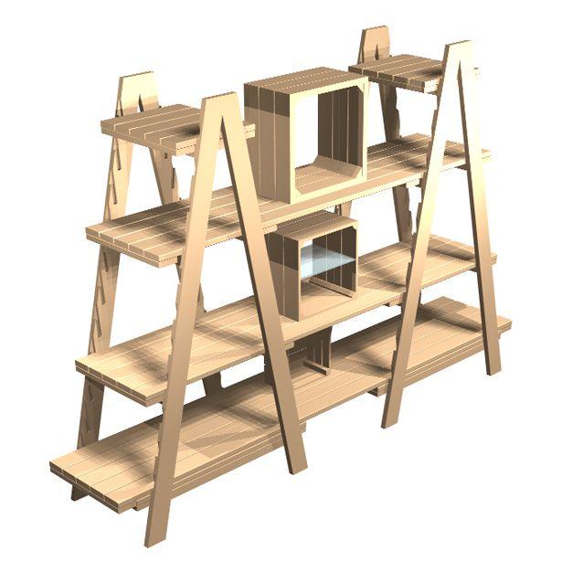 Christmas store design. Double Ladder combination. Christmas5 | 2500 x 1900 x 580mm. Linkshelving | Rustic display equipment