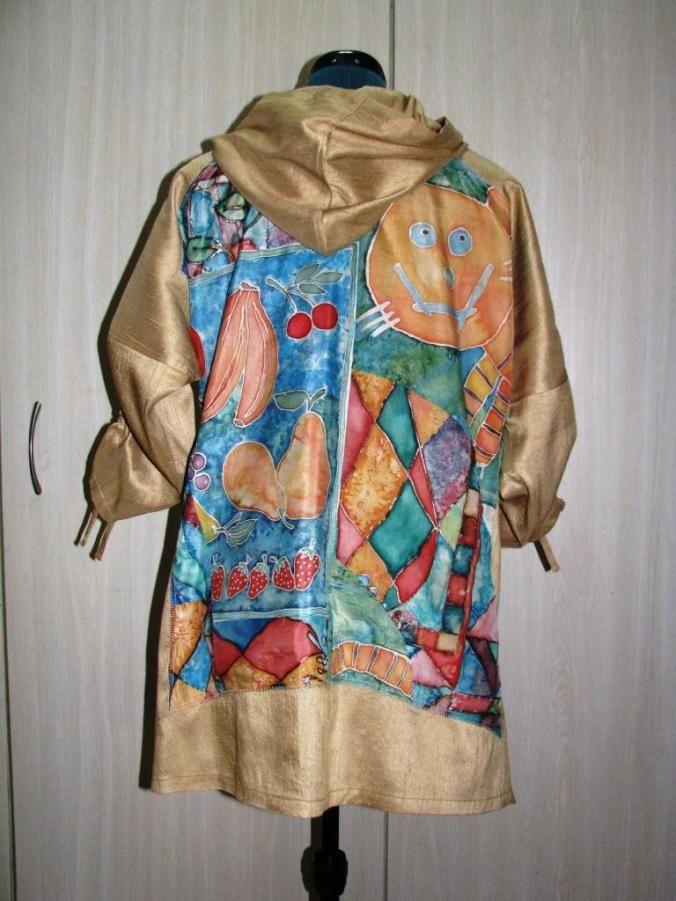 Raw silk tunic with handpainted silk chiffon applique (back view)