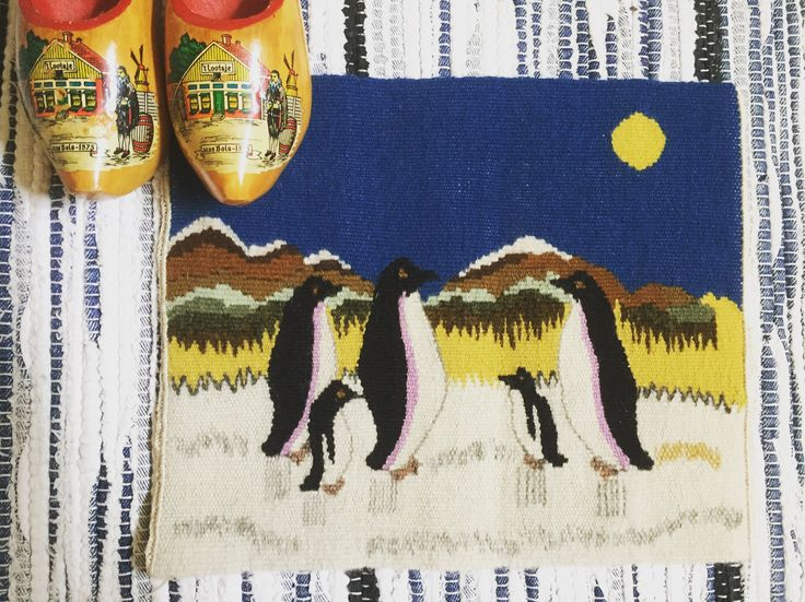 Wool/flemish/flamsk/woven/wall hanging/penguins technique by WifinpoofVintage on Etsy