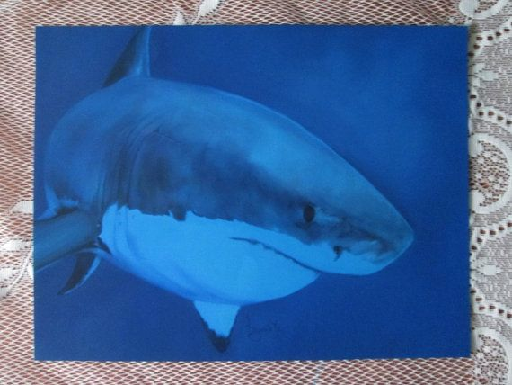 8x10 Animal Art Print | Hand Painted Great White Shark Digital Painting |  Shark Portrait