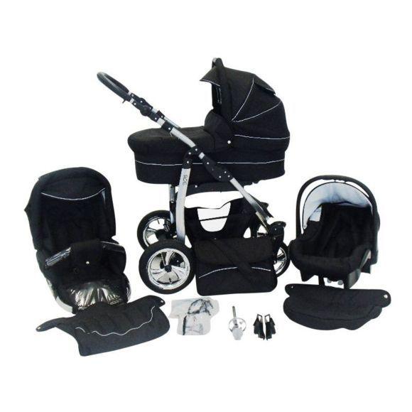 Chilly Kids - Dino 3 en 1 Poussette combinée avec siège auto 04 noir & noir Poussette Combinée Poussette Canne