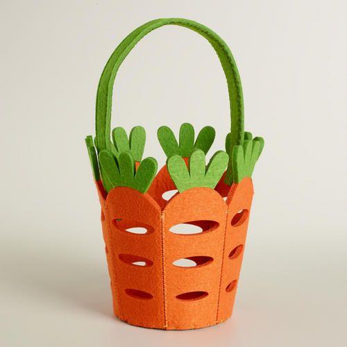 One of my favorite discoveries at WorldMarket.com: Large Carrots Felt Easter Basket