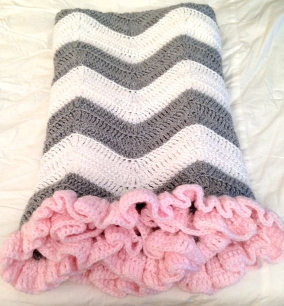 PATTERN  Chevron Blanket with Ruffle  Crochet Baby Blanket