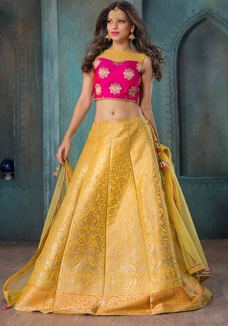 Yellow ethnic Rajasthani A line ghagra choli in silk jqcquard G17061