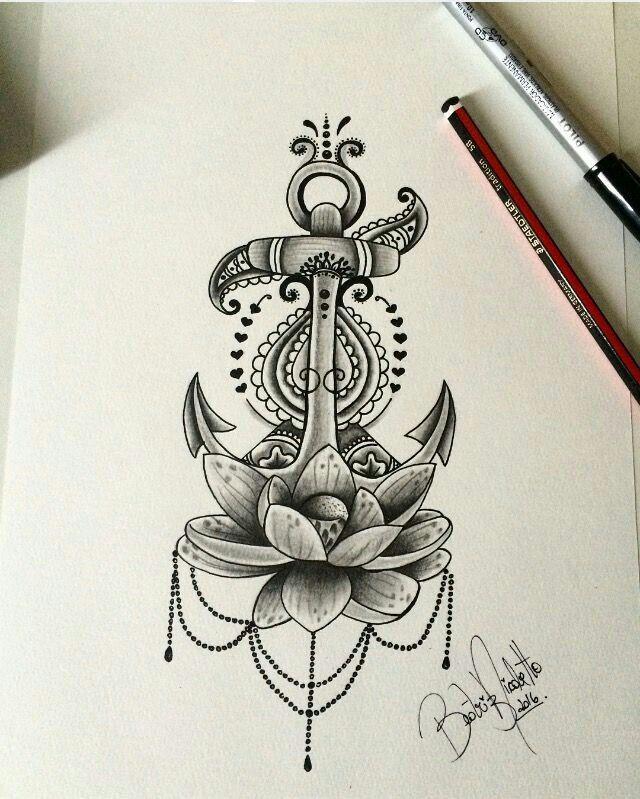 Greyscale flower anchor mandala tattoo