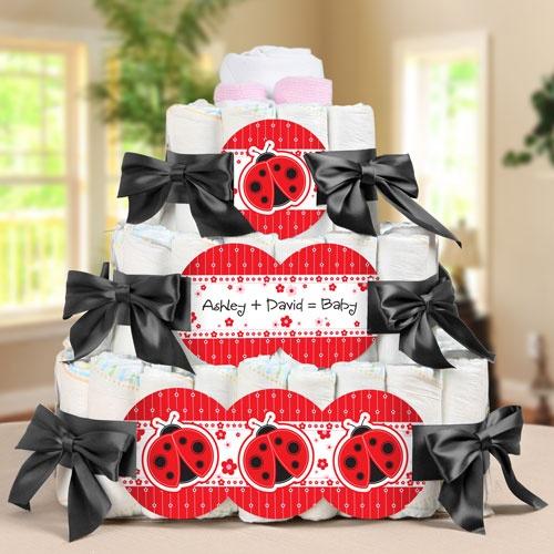 modern ladybug square 3 tier diaper cake baby shower gift