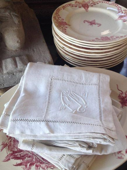 Lovely linens and vintage transferware