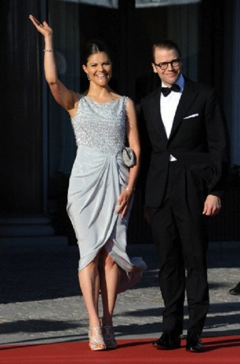 Swedisch Crown Princess Victoria and her husband Prince Daniel arrive for a private dinner prior to the wedding of the Swedish Princess Madeleine at the Grand Hotel, in Stockholm, Sweden, 07 June 2013.