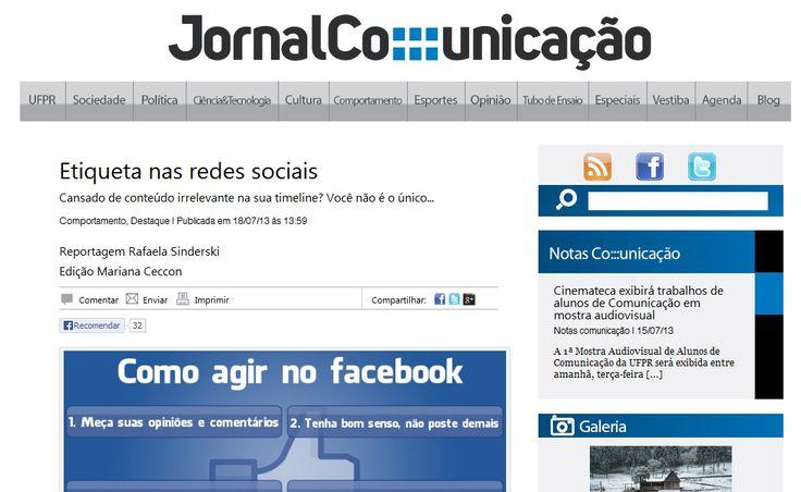 Entrevista sobre etiquetas nas mídias sociais para o Jornal Comunicação da UFPR