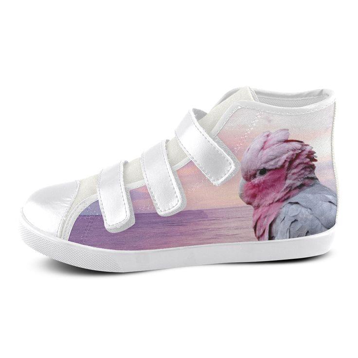 Galah Cockatoo Velcro High Top Canvas Kid's Shoes