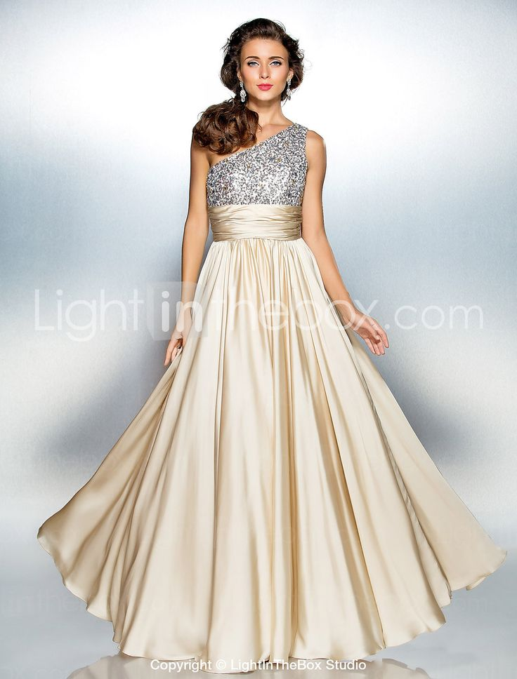 Sheath/Column One Shoulder Floor-length Satin Chiffon Evening/Prom Dress - USD $ 117.99 Would I wear this??? Yes, I would!!