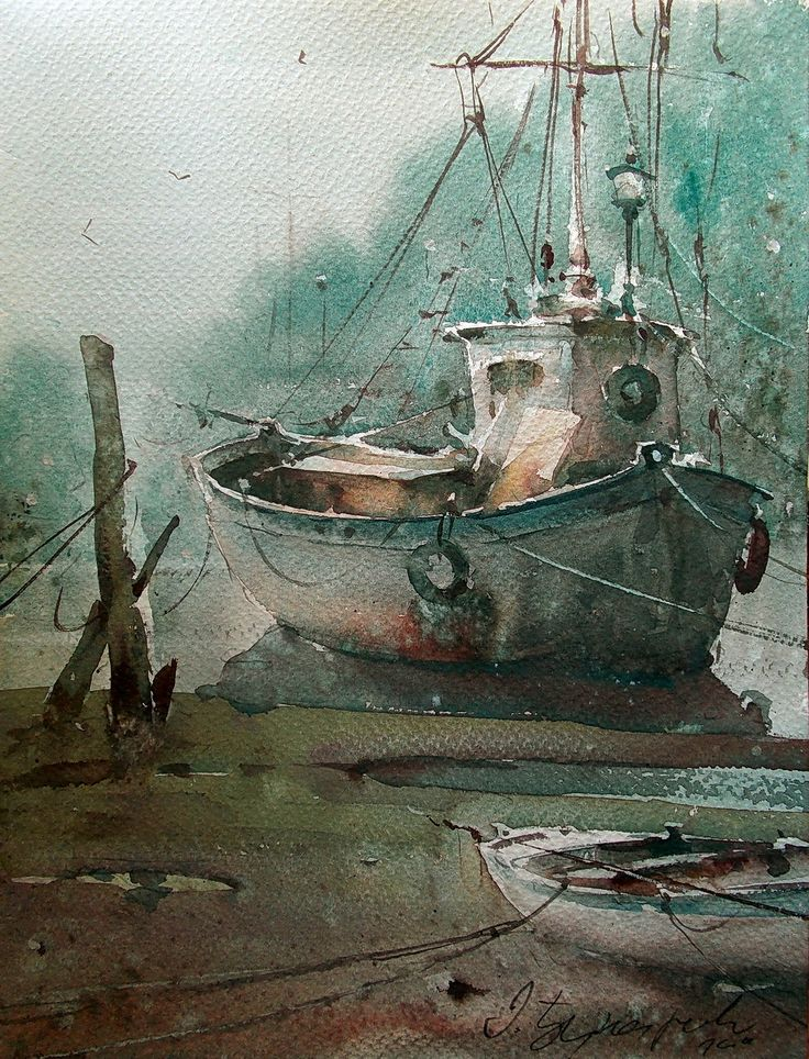 Dusan Djukaric, Fisherman boats, watercolor
