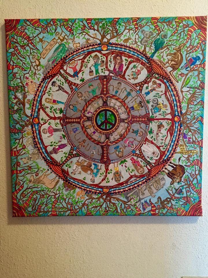 peace heal the world mandala canvas zentangle