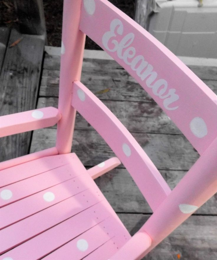 Kids Rocking Chair, woodedn handmade Kids Furniture / Toddler Rocking Chair / Pink and White / Choose Color and Personalized Name by particulargifts on Etsy