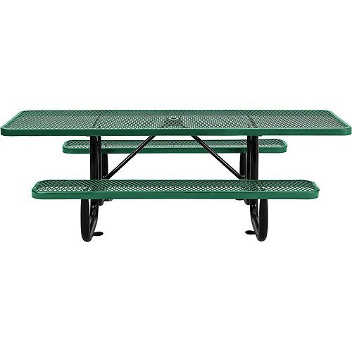 """96"""" ADA Expanded Metal Picnic Table, Green"""