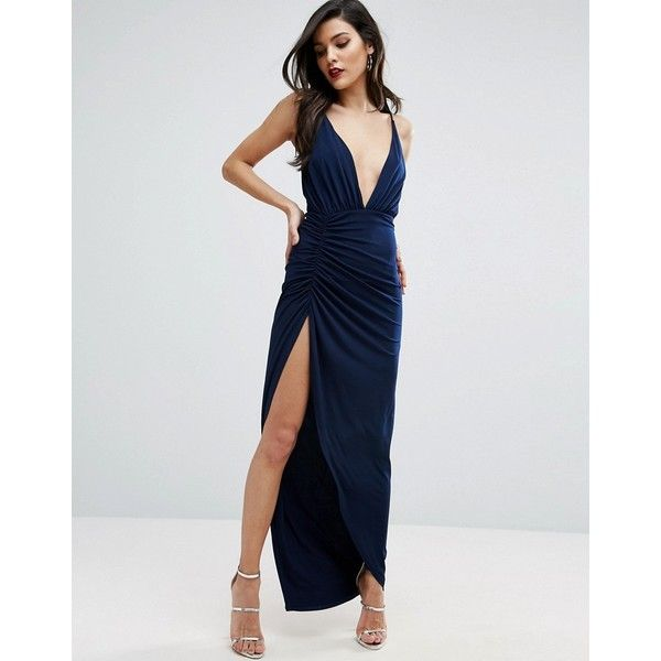 ASOS Ruched Cami Super Thigh Split Maxi Dress (€43) ❤ liked on Polyvore featuring dresses, navy, navy dresses, strappy cami, navy maxi dress, maxi party dresses and navy blue maxi dress