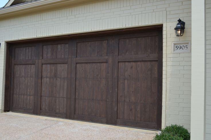 Village Homes Wood Cedar Garage Door Stained In A Dark