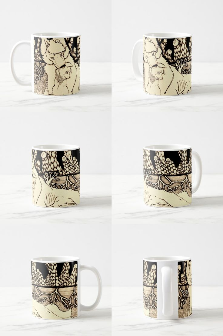 """""""Across the Border"""" Dog and Wolf Coffee Mug #wolf_art #wolf_products #wolf_illustration"""