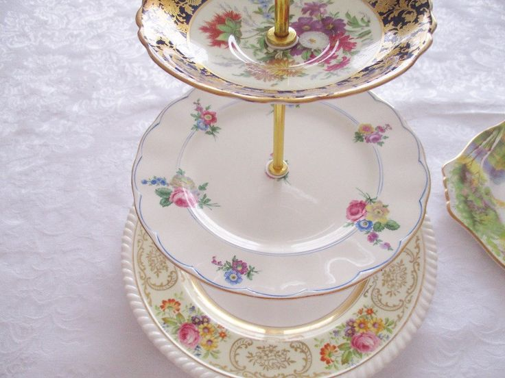 VINTAGE 3 TIER CAKE stand , vintage cake stand for tea parties and luncheons, mis-matched plates, cottage chic, excellent condition