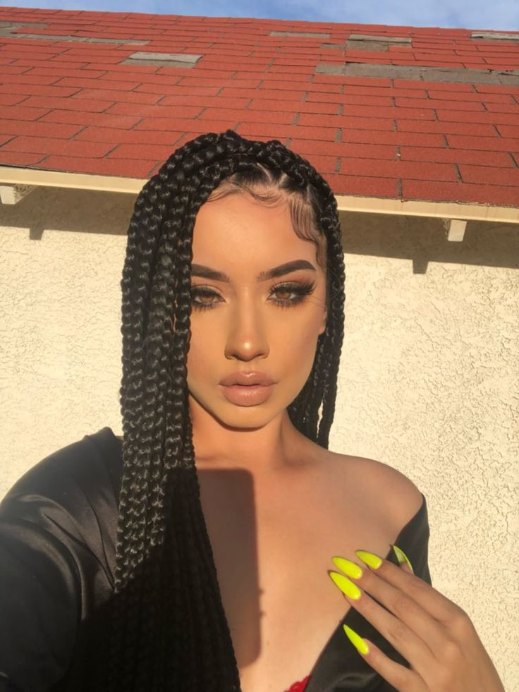 Black Braids Edges Yellow Nails With Images