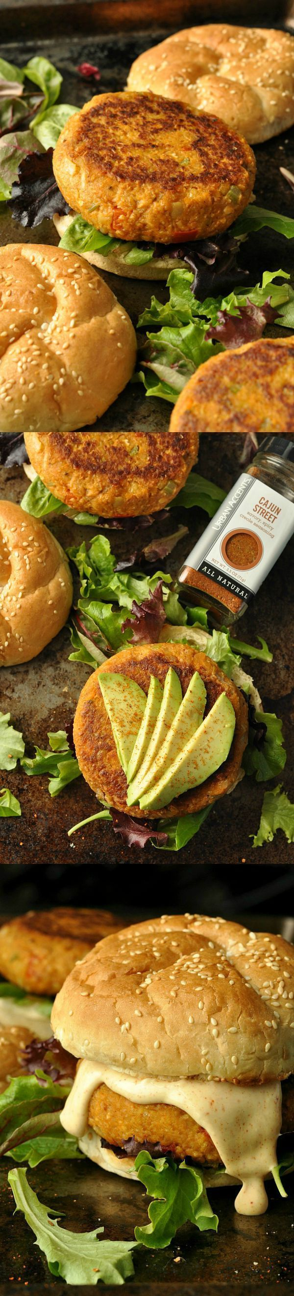 Cajun Chickpea and Sweet Potato Veggie Burgers :: These gluten-free vegan burgers are absolutely awesome!