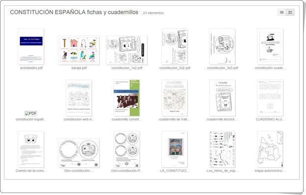 """Fichas y cuadernillos en el álbum sobre la """"Constitución Española"""" para conmemorar en su día, 6 de diciembre, trabajando sobre ella en el aula."""