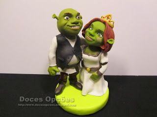 Doces Opções: Topo de bolo de noivos Shrek e Fiona