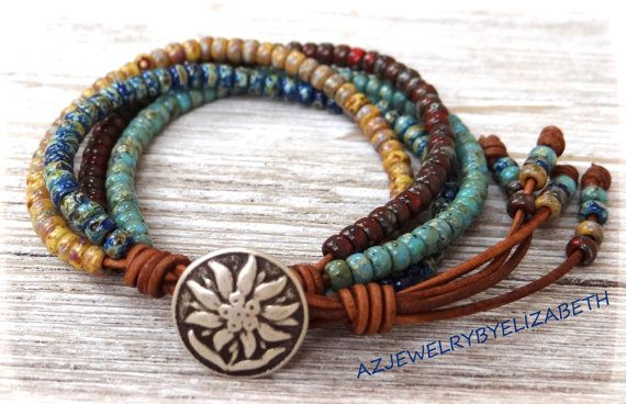One of a kind Seed Bead Wrap Bracelet, Multi Color Seed Bead Leather Wrap Bracelet.