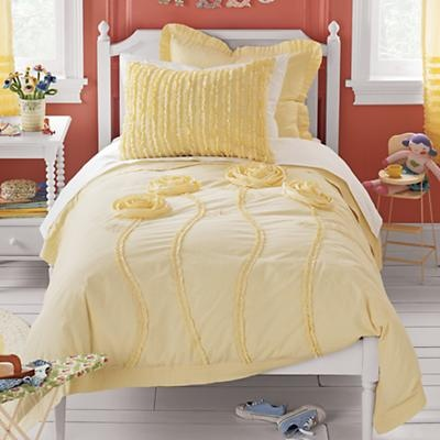 Kids Bedding Girls Yellow Appliqued Rose Floral Bedding