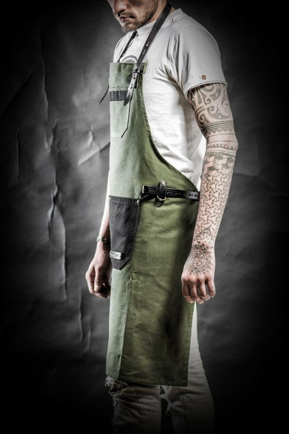 Waxed canvas apron Men's apron Work apron by KrukGarageAtelier