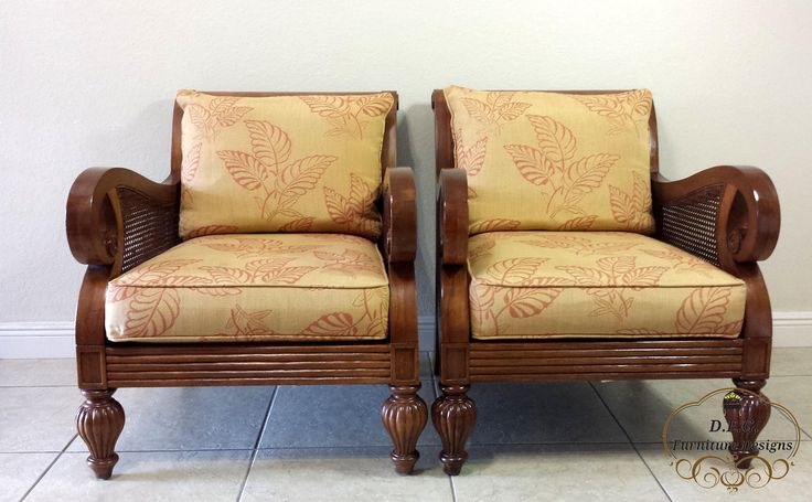 Pair of Thomasville sofa chairs with double cane by DEGFURNITUREDESIGNS on Etsy