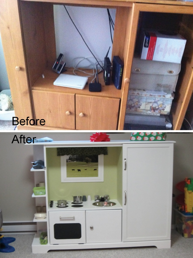 Old entertainment unit recycled into a kids play kitchen for Play unit