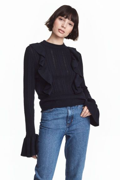 Pattern-knit jumper: Pattern-knit jumper in soft slub yarn made from a cotton blend with rib-knit frills on the front and at the cuffs.