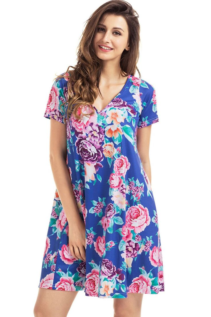 Robe Chemise Fleur Bleu Royal Manches Courtes Poche Ete Pas Cher www.modebuy.com @Modebuy #Modebuy #Bleu #mode #vêtements #me