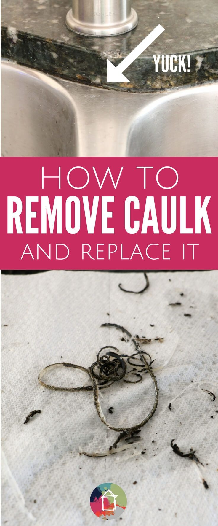 Ever wondered how to remove caulk and replace it? It's EASY! Learn how to replace any nasty caulk in your kitchen or bathroom with this step-by-step caulking tutorial.