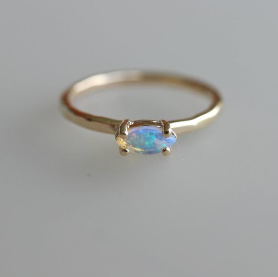 Genuine October Birthstone Opal Solid 14k Yellow Gold Band Ring Minimalist Gift