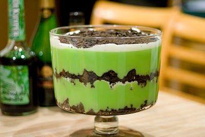 St. Pat Lazy Grasshopper Dessert ( 2/3c oreo crushed, 1 box vanilla pudding, 2T creme de menthe, 1T creme de cacao, whipped cream. Freezer for 30 min & voila!