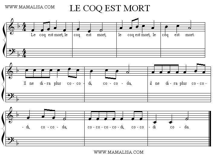 Partitura Le Coq Est Mort Coq Mort
