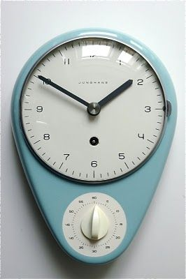 """Wall-kitchen clock with timer by Max Bill for Junghans 1956/57    """"Max Bill was the single most decisive influence on Swiss graphic design beginning in the 1950s with his theoretical writing and progressive work. His connection to the days of the Modern Movement gave him special authority. As an industrial designer, his work is characterized by a clarity of design and precise proportions. Examples are the elegant clocks and watches designed for Junghans, a long-term client"""" Wikipedia"""