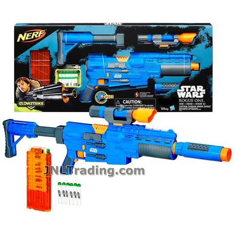 Nerf Year 2016 Star Wars Rogue One Series CAPTAIN CASSIAN ANDOR (EADU) Blaster with Lights and Sounds Plus Clip, Scope, Tactical Rail, Motorized Trigger, Stock and Glowstrike Darts